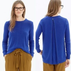 Madewell Back Zip Pullover Sweater in Blue